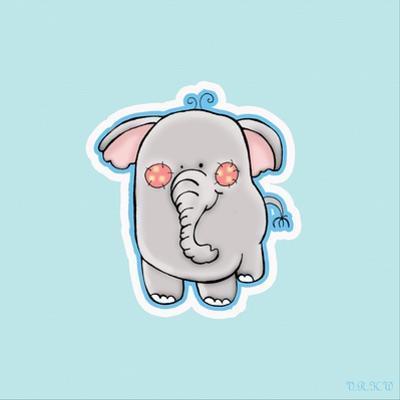 Blue Background Elephant by Valarie Wade