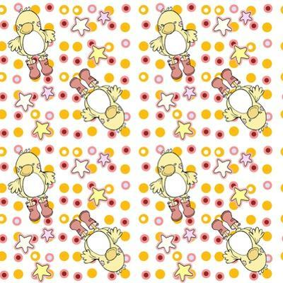 Pink and Orange Ducky Dots by Valarie Wade