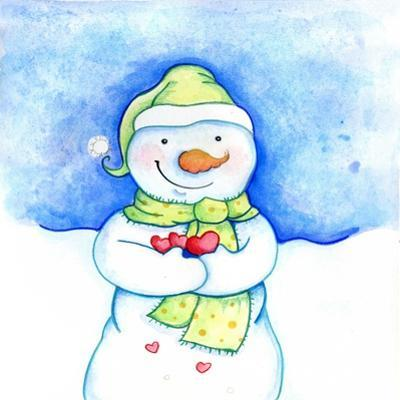 Snowman Holding Hearts by Valarie Wade