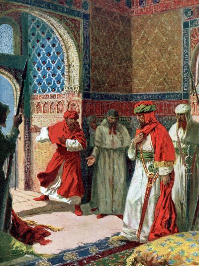 "Valda's Painting of Abu Abdullah known as ""The Unfortunate,"" the Last Moorish King of Grenada--Photographic Print"