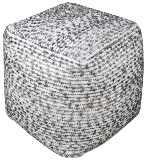 Valda Wool Pouf - Ivory/Charcoal--Home Accessories
