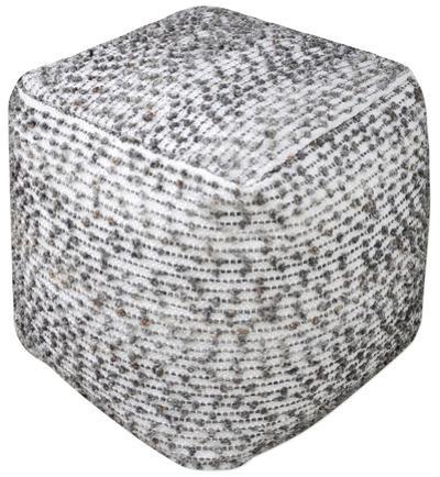 Valda Wool Pouf - Ivory/Charcoal