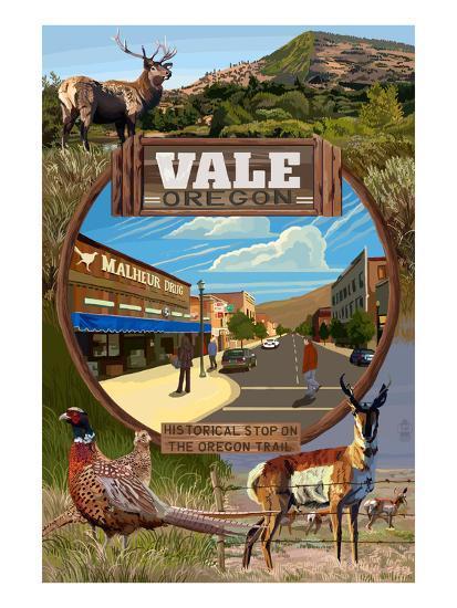 Vale, Oregon - Town Scenes Montage-Lantern Press-Art Print