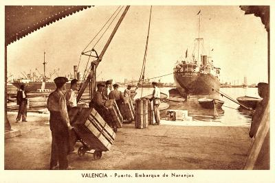 Valencia, Puerto, Embarque De Naranjas, Orangen--Giclee Print