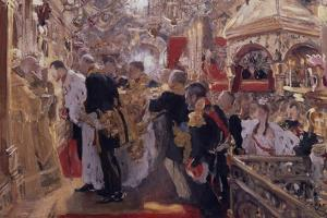 The Coronation of Emperor Nicholas II in the Assumption Cathedral, 1896 by Valentin Alexandrovich Serov