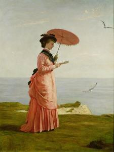 Lady Tennyson on Afton Downs, Freshwater Bay, Isle of Wight by Valentine Cameron Prinsep