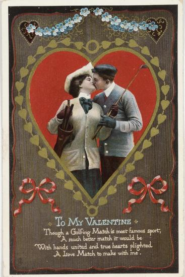 Valentine card with golfing theme, Germany, 1912-Unknown-Giclee Print