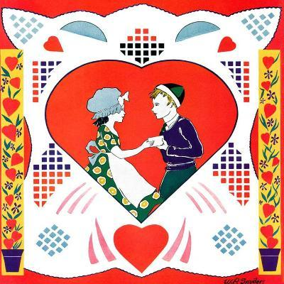 """Valentine Couple Cut-Out,""February 1, 1933-W. P. Snyder-Giclee Print"