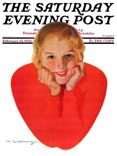 """""""Valentine Girl,"""" Saturday Evening Post Cover, February 13, 1932-Charles E. Chambers-Giclee Print"""