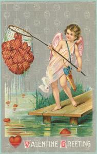 Valentine Greeting, Cupid Fishing Hearts