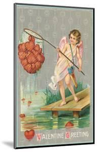 Valentine Greeting, Cupid Fishing Hearts