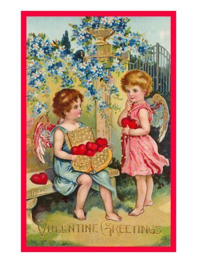 Valentine Greetings, Angels with Hearts--Art Print