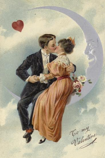 Valentine's Card, Involving Couple Kissing on the Moon--Giclee Print