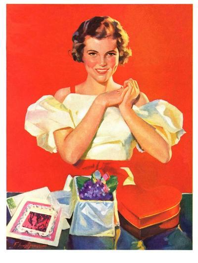 """Valentine's Gifts,""February 16, 1935-F. Sands Brunner-Giclee Print"