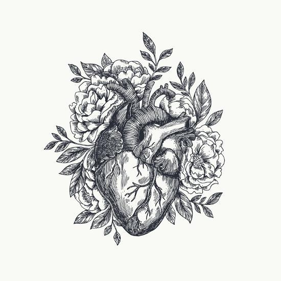 Valentines Day Card. Anatomical Heart with Flowers. Vector Illustration-adehoidar-Art Print