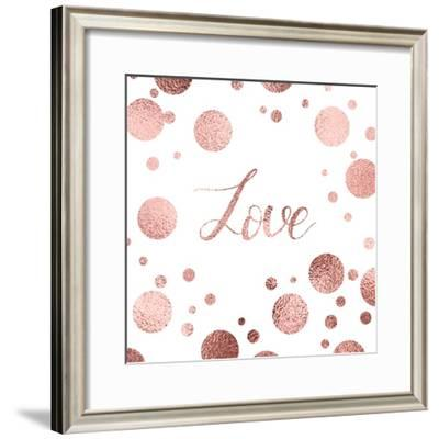 Valentines Day Greeting Card with Rose Gold Lettering and Sparkle Dots.- NikaMooni-Framed Premium Giclee Print
