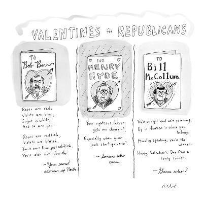 Valentines for Republicans' - New Yorker Cartoon-Roz Chast-Premium Giclee Print