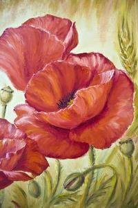 Poppies in Wheat, Oil Painting on Canvas by Valenty