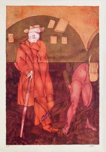 Chiron Enseignant La Lyre À Achille by Valerio Adami