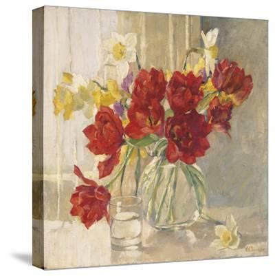 Red Tulips and Daffodils