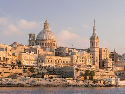 Valletta During Sunset and Marsamxett Harbor, Malta-Martin Zwick-Photographic Print
