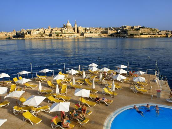 Valletta Skyline with Tourists Relaxing around Pool in Foreground-Jean-pierre Lescourret-Photographic Print