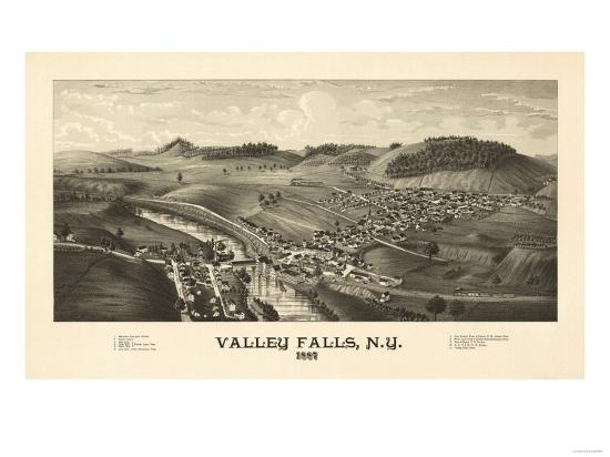 Valley Falls, New York - Panoramic Map-Lantern Press-Art Print