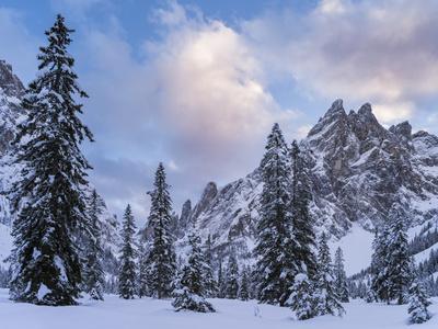 Valley Fischleintal in Winter, Mt Einserkofel. Sexten Dolomites, Italy-Martin Zwick-Photographic Print