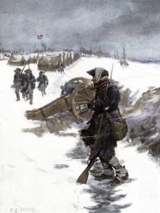 Valley Forge Soldier on Picket Duty in the Snow, Awaiting His Relief Shift, American Revolution