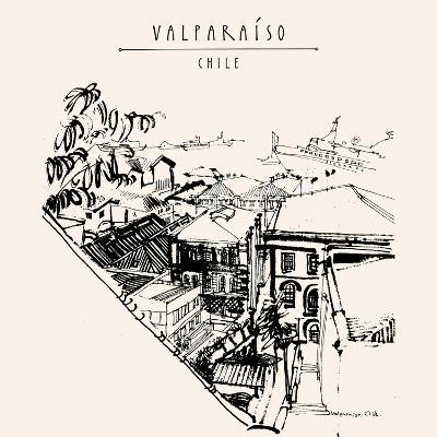 Valparaiso, Chile, South America. View of the Port from a Favela. Black and White Vintage Hand Draw-babayuka-Art Print
