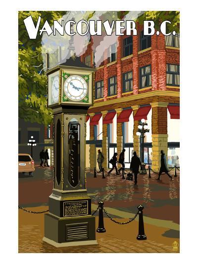 Vancouver, BC - Steam Clock-Lantern Press-Art Print