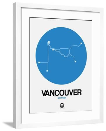 Vancouver Blue Subway Map-NaxArt-Framed Art Print