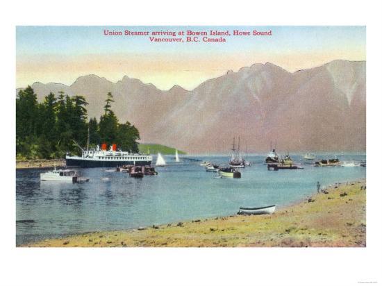 Vancouver, Canada - Howe Sound View of Union Steamer at Bowen Island-Lantern Press-Art Print