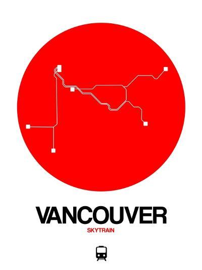 Vancouver Red Subway Map-NaxArt-Art Print