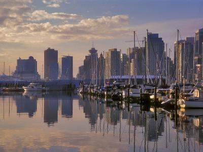 Vancouver Skyline With Boats in Harbor at Sunrise Seen From Stanley Park, British Columbia, Canada-Janis Miglavs-Photographic Print