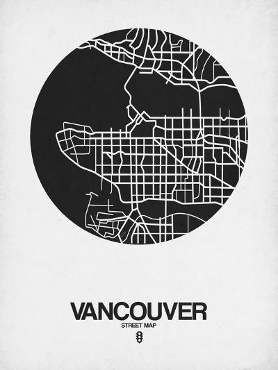 Vancouver Street Map Black on White-NaxArt-Art Print