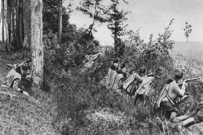 Vanguard of Austro-Hungarian Uhlans Occupying a Clearing in a Forest, World War I, 1917--Giclee Print