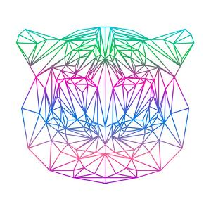 Isolated Polygonal Abstract Tiger Silhouette Drawn in One Continuous Line by vanillamilk