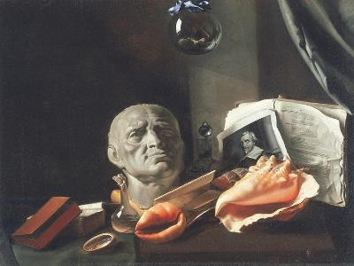 Vanitas Still Life with a Bust, Seashells, Books and Glass Flasks--Giclee Print