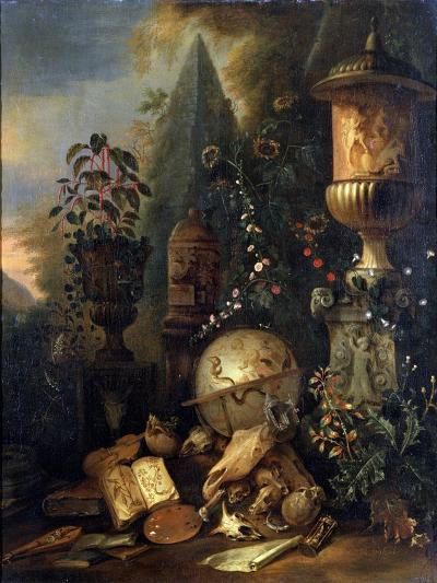 Vanitas, Still Life with a Vase, 17th or Early 18th Century-Matthias Withoos-Giclee Print