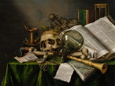Vanitas, Still Life with Books, Manuscripts and a Skull-Edward Collier-Giclee Print