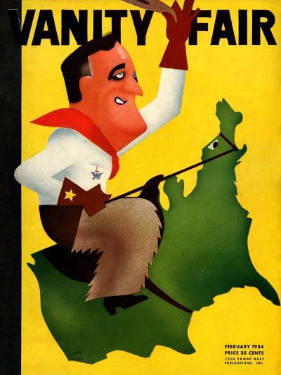 Vanity Fair Cover - February 1934-Leon Carlin-Premium Giclee Print