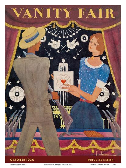 Vanity Fair - Magazine Cover October, 1930 - Carnival Shooting Gallery-Georges Lepape-Art Print