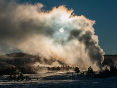 Vapor from Old Faithful Rises More Than Two Hundred Feet to Partially Obscure the Sun-Tom Murphy-Photographic Print