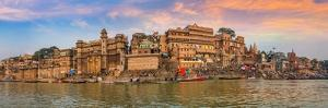 Varanasi India Ancient City Architecture Panoramic View at Sunset as Seen from a Boat on River Gang
