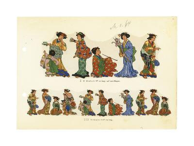 Variations of Asian Woman in a Kimono with Props--Art Print