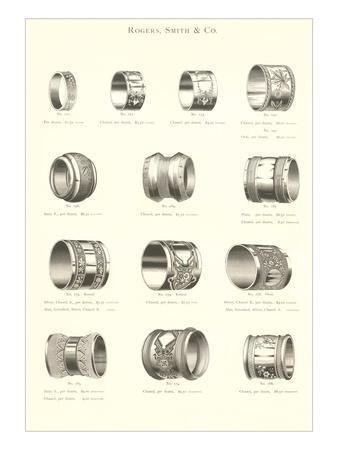 Variety of Engraved Napkin Rings--Art Print