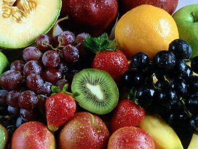 Variety of Fresh Fruits Including Berries with Grapes and Honeydew--Photographic Print