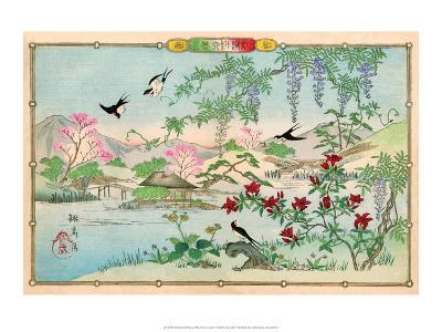 Various Birds and Flowers in a Mountainous Landscape-Rinsai Utsushi-Art Print