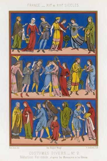 Various Costumes of 12th and 13th Century France--Giclee Print